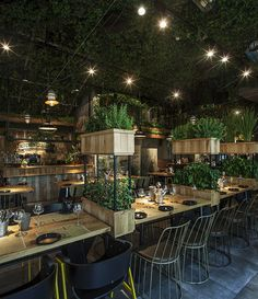 Segev Kitchen Garden Restaurant. Orly Avron Alkabes Lighting Design, Design: Studio Yaron Tal, Photography: Yoav Gurin