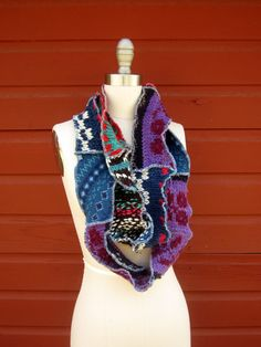 This would be so much fun to make. Take old favorite sweaters and turn into a Bohemian Scarf!
