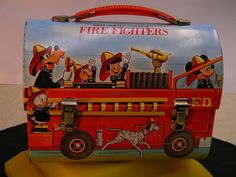Mickey Mouse Disney Tin litho Fire Truck Lunch Box - No Thermos - Very Nice Cond | eBay