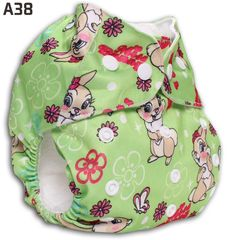 Green Background Rabbit Happy Flute Baby Printed Cloth Diapers US$6.8