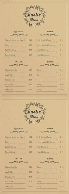 Free Rustic Menu Free Rustic Menu Template - Printable Rustic Menu Design Provide You with a Variety of Layout. Rustic Menu Design for Restaurant, Cafe, Wedding. Available in Illustrator. Diner Menu, Bakery Menu, Restaurant Menu Template, Wedding Menu Template, Restaurant Menu Design, Restaurant Identity, Restaurant Restaurant, Cafe Menu Design, Food Menu Design