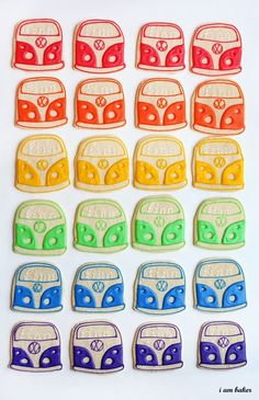 VW Bus with peace signs cookies.