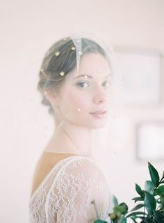 Tiny pearled flowers are scattered like stars atop this soft and romantic blusher veil, handmade by Hushed Commotion. Photo by Jen Huang Wedding Who Pays, Short Veil, Wedding Veils, Bridal Veils, Wedding Dress, Tulle, Wedding Looks, Perfect Wedding, Bridal Beauty