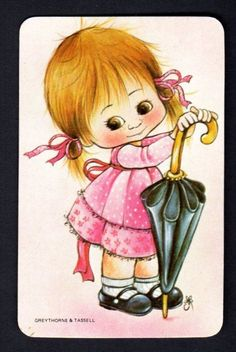 Vintage Swap Card - Cute Girl with Umbrella  (BLANK BACK)