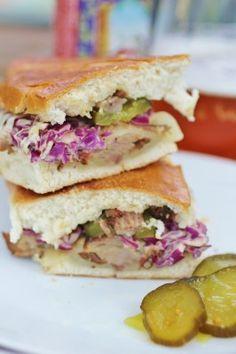 New Belgium Beer-Braised Pork Pressed Sandwich with Mustardy Slaw