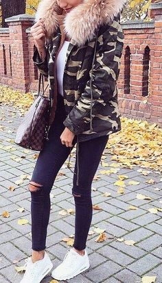 #fall #fashion · Army Jacket + Ripped Jeans + White Sneaker