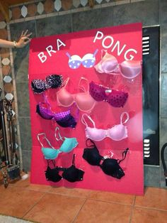 Hahahaha! Bra pong Bachelorette games. All guests give a bra for the board. Bride has to throw a ping pong ball into a bra and guess who it belongs to!
