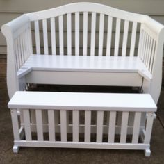 Bench with drawer and footrest made out of our old crib. Handmade for me. Love it!