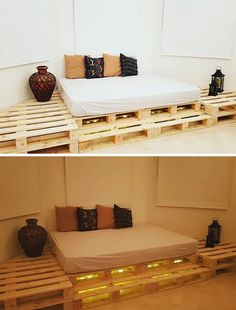 The easiest way of maximizing your storage is now possible with Low-Cost Wood Pallet, which helps us to increase the available space with simple and … Pallet Side Table, Wood Pallet Tables, Pallet Wall Decor, Pallet Beds, Wood Pallet Furniture, Diy Pallet, Pallet Wood, Unique Home Decor, Home Decor Items