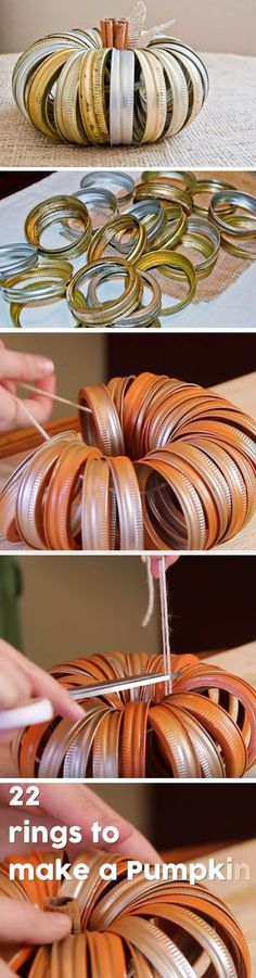Canning Ring Pumpkin 20 DIY Thanksgiving Decor Ideas for the Home that will make your place look oh so cozy! Thanksgiving Crafts, Thanksgiving Decorations, Fall Crafts, Seasonal Decor, Holiday Crafts, Diy Crafts, Fall Decorations, Decor Crafts, Diy Christmas