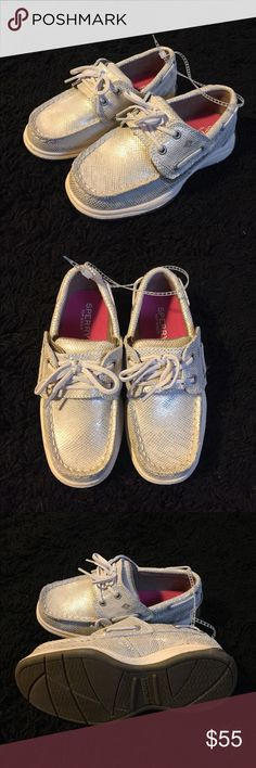 Sperry Light Gold and White Top Siders Brand new with tags. Dress your angel up or down with these easy slip on Sperry Top-Siders. Two sizes available. Sperry Top-Sider Shoes Dress Shoes