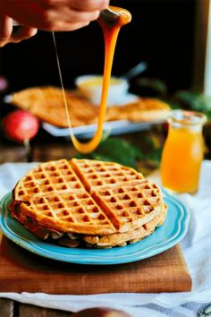 baf1e24a4c6 apple cider waffles with salted caramel drizzle — the farmer s daughter  Breakfast Pancakes