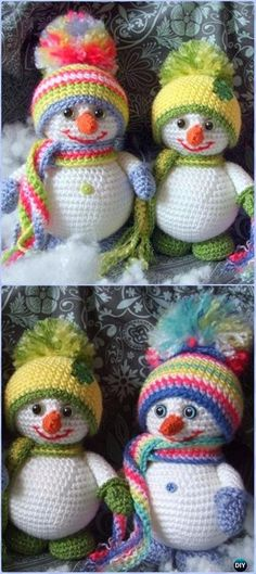 Crochet Colorful Snowman Amigurumi Free Pattern - Amigurumi Crochet Snowman Stuffies Toys Free Patterns