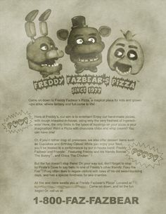The actual poster for Freddy Fazbear's Pizza