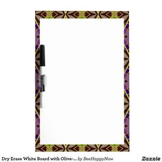 Dry Erase White Board with Olive-Colored Border