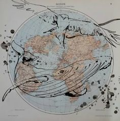 Buy relations, a Ink on Paper by Cyril Réguerre from France. It portrays: Animal, relevant to: bird, black, whale, world, animals, ink, map relations maritimes et aériennes, is the full title. An old map, showing the lines and routes of boats and planes. I've drawn a bird of prey andd a whales as poetic methaphores...  This work will be shipped rolled in a secure tube.