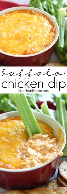 Buffalo Chicken Dip ~ warm, creamy, and loaded with cheese, chicken, and wing sauce, this decadent appetizer is perfect for parties or ideal for game day tailgating!   FiveHeartHome.com