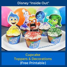 If you are planning an Inside Out birthday party, your guest will love these adorable Inside Out cupcake decorations & toppers. Our Free In...