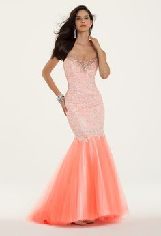 Camille La Vie Lace and Tulle Trumpet Style Prom Dress