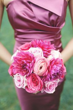 Radiant Orchid Dress and Flower Bouquet