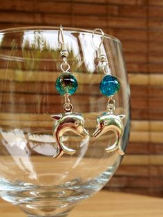 Silver Dolphin Ocean Earrings,Silver Dolphin Charm Drops,Aqua Coffee Glass Beads,Crackle Bead Dolphin Jewelry,Aloha Hawaii Jewelry,Handmade on Etsy, $14.00