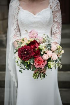 Dahlia Rose Succulent Bouquet Flowers Bride Bridal Red Pink Magical Gold Burgundy 1930s Wedding http://laurenmcglynnphotography.com/