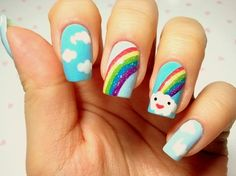 cute kid nail designs rainbows