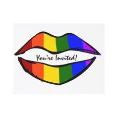 Rainbow Lips Gay Wedding Invitation