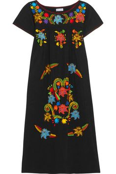 Black cotton Slips on 100% cotton Hand wash These pieces are hand-embroidered at the neckline and sleeves and therefore may differ from that pictured