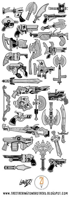 Last peek into the 21draw Illustrator's Guidebook  (did I mention you can buy it now, right HERE? ). A selection of weapons I drew for the c...