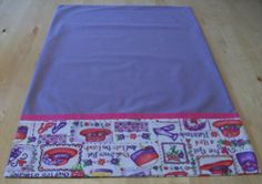 """Lavender pillowcase featuring a """"Red Hattitude"""" and French seams by JamesRiverCrafts on Etsy"""