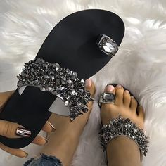 e8dd04ab664609 Shop Womens Shiny Toe Ring Flat Sandals – Discover sexy women fashion at  Boutiquefeel