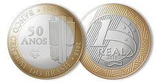 Nova moeda de 1 real alusiva aos 50 anos do Banco Central. Do Brasil de 2015