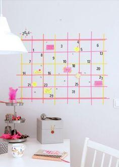 Créer un calendrier avec du masking tape, masking tape, diy, wall, réaliser un calendrier homemade Teintes Pastel, Masking Tape, Washi Tape, Needful Things, Decoration, Diy, Holiday Decor, Home Decor, Organize