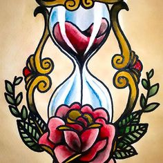 Traditional Hourglasses Tattoo Design