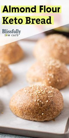 Keto bread rolls the best low carb bread recipe! these light and airy rolls are made with almond flour and are low net carbs blissfullylowcarb com keto lowcarb bread rolls almondflour easy recipe the best low carb keto protein pancakes Keto Bread Coconut Flour, Keto Banana Bread, Almond Bread, Almond Flour Recipes, Coconut Oil, Almond Flour Waffles, Blueberry Bread, Almond Butter, Easy Keto Bread Recipe