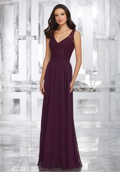 Mori Lee shown in Eggplant. Chiffon Bridesmaids Dress with Beaded Lace Bodice and Keyhole Back. View Lace Swatch Card for Color Options.