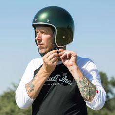 """BILTWELL Bonanza """"Sierra Green"""": great oldschool open face helmet with DOT standard. Check out more retro motorcycle helmets at 24Helmets.de!"""