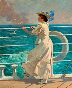 in-the-middle-of-a-daydream:  On the Deck by Abbott Fuller Graves (1859 – 1936)