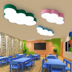 Cartoon Creative Fairytale Lovely Clouds Design 3 Colors Iron Acrylic Led Ceiling Light for Kids Children's Room Bedroom _ - AliExpress Mobile Version - - Something different thinking this design and colour combination Daycare Design, Kids Room Design, Classroom Design, School Design, Classroom Decor, Kindergarten Interior, Kindergarten Design, Design Maternelle, Design Hotel