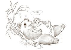 """myrichandleefanart: """"Lee Pace cuddling Pandas did things to me. A poster with """"My neighbor Totoro"""" inspired me to this. Did two versions and couldn´t decide which I like more, so I uploaded both. Pei..."""