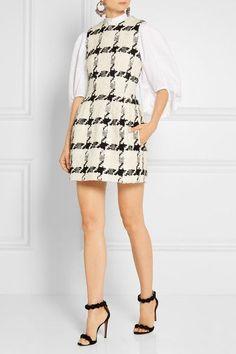 Alexander McQueen - Houndstooth Tweed Mini Dress - Ivory - IT44