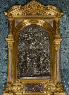 Alessandro Algardi (diseño) y Ercole Ferrata: Altar de León X detiendo a Atila. Madrid, Palacio Real.