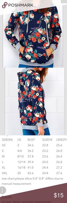 Floral print hoodie sweatshirt size M Super cute gorgeous print hooded sweatshirt. Size medium and a bit oversized. Not fleecy sweatshirt material but a material with more sheen to it. Perfect for summer and outings to the beach 🌊 or pool. Brand new never worn, no flaws. cupshe Tops Sweatshirts & Hoodies