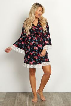 Black Floral Lace Trim Delivery/Nursing Maternity Robe