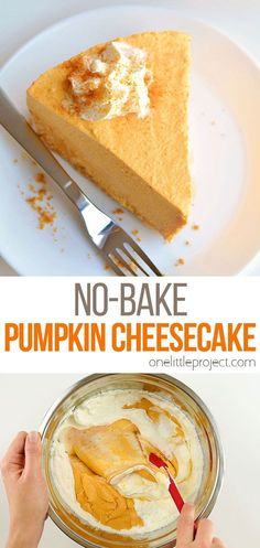 This no-bake pumpkin cheesecake is SO GOOD and it's really simple to make! It's so creamy and delicious! Loaded with all the best fall flavours, it's sure to become one of your favourite fall recipes. This is such an easy no-bake Thanksgiving dessert idea. With a delicious graham cracker crust, and the light and fluffy pumpkin filling, this easy dessert is so perfect for autumn! Easy Pumpkin Pie, Baked Pumpkin, Pumpkin Dessert, Easy Desserts, Delicious Desserts, Dessert Recipes, No Bake Pumpkin Cheesecake, Thanksgiving Desserts, Fall Crafts
