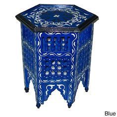 Hand-Painted Arabesque Indoor Wooden End Table (Morocco) - Overstock Shopping - Top Rated Coffee, Sofa & End Tables