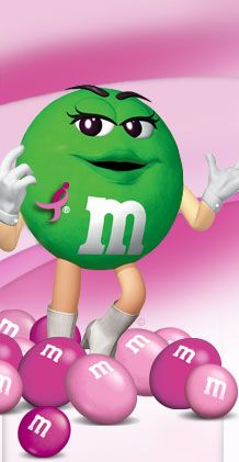 Ms. Green with pink M&Ms