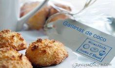 receta galletas de coco paso a paso 125 grs de coco rallado, 150 gr de azúcar, 40 gr de harina floja, 2 huevos, una pizca de sal.