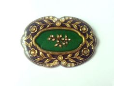 Vintage-Signed-Catherine-Popesco-Art-Deco-French-Black-Gold-Enamel-Pin-Brooch